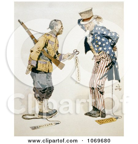 Clipart of Chinese Soldier With Uncle Sam - Enlightenment - Servitude - Partisan Politics - Royalty Free Historical Stock Illustration by JVPD