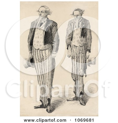 Clipart Sketching of Two Uncle Sams - Lest We Forget - Royalty Free Historical Sepia Stock Illustration by JVPD