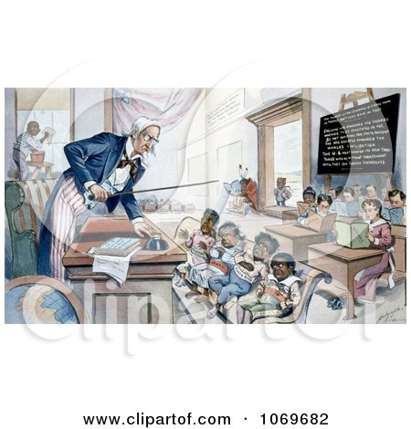 Clipart of Uncle Sam Lecturing Children In School  - Royalty Free Historical Stock Illustration by JVPD