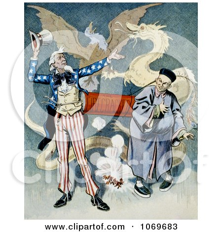 Clipart of Uncle Sam and a Chinese Man Connected To A Firecracker With Dragon and Eagle In Background - Royalty Free Historical Stock Illustration by JVPD