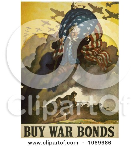 Clipart Of Uncle Sam and Military Troops - Buy War Bonds - Royalty Free Historical Stock Illustration by JVPD