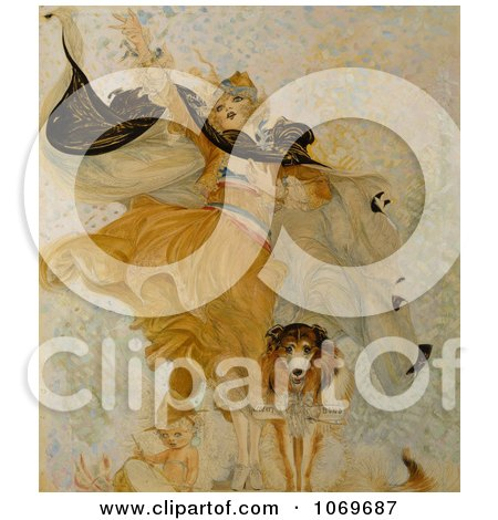 Clipart of Woman Beside Baby And Uncle Sam Dog With Liberty Bond - Royalty Free Historical Stock Illustration by JVPD