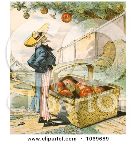 Clipart Of Uncle Sam Waiting For Apples Fall In His Basket - Patient Waiters Are No Losers 1897 - Royalty Free Historical Stock Illustration by JVPD