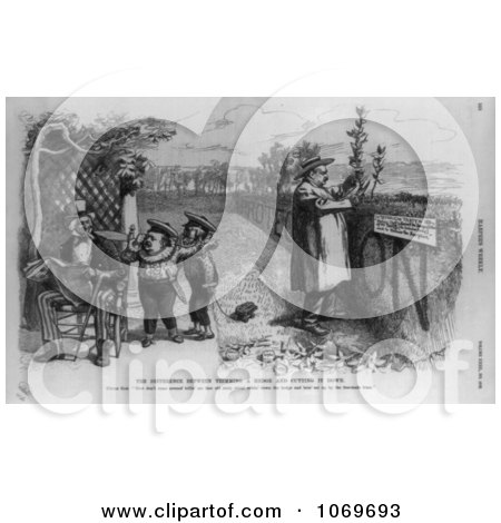 Clipart Of The Difference Between Trimming a Hedge and Cutting it Down Uncle Sam - Royalty Free Historical Stock Illustration by JVPD