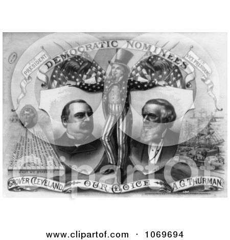 Clipart Of Uncle Sam, Grover Cleveland and A.G. Thurman - Royalty Free Historical Stock Illustration by JVPD