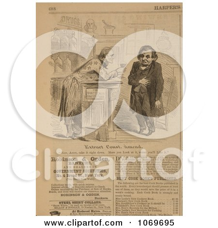 Clipart Of Uncle Sam Leaning On A Bar Offering Andrew Johnson a Glass of Medicine - For Shattered Constitutions - Royalty Free Historical Stock Illustration by JVPD
