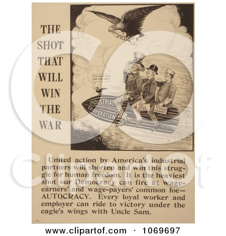 Clipart Of Uncle Sam Riding The Shot That Will Win The War - Royalty Free Historical Stock Illustration by JVPD