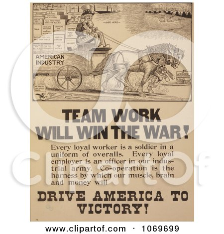 Clipart Of Uncle Sam - Team Work Will Win The War - Royalty Free Historical Stock Illustration by JVPD
