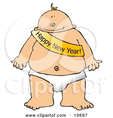 New Year's Baby Wearing a Happy New Year Sash Clipart Illustration by djart