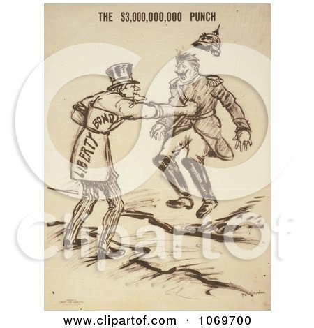 Clipart Of Uncle Sam Issuing The $3,000,000,000 Punch - Liberty Bond - Royalty Free Historical Stock Illustration by JVPD