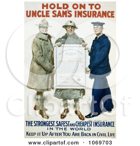 Clipart Of Hold On To Uncle Sam's Insurance 1918 - Royalty Free Historical Stock Illustration by JVPD