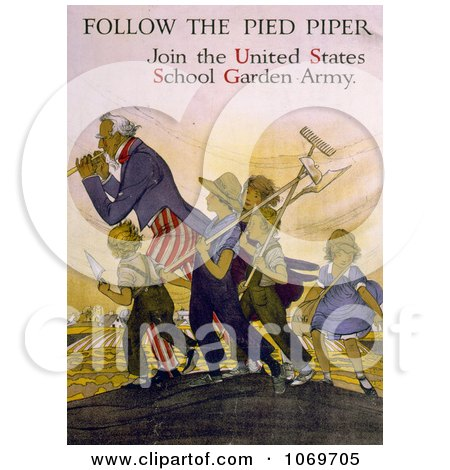 Clipart Of Uncle Sam - Follow the Pied Piper - Join the United States School Garden Army - Royalty Free Historical Stock Illustration by JVPD