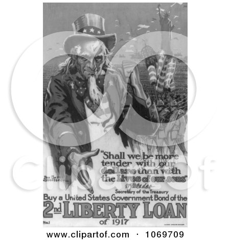 Clipart Of Uncle Sam - Buy A United States Government Bond Of The 2nd Liberty Loan Of 1 - Royalty Free Historical Stock Illustration by JVPD