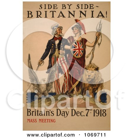 Clipart Of Uncle Sam - Side by side - Britannia! Britain Day 1918 - Mass Meeting - Royalty Free Historical Stock Illustration by JVPD