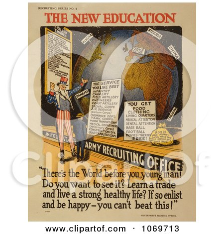 Clipart Of Uncle Sam - The New Education - Royalty Free Historical Stock Illustration by JVPD
