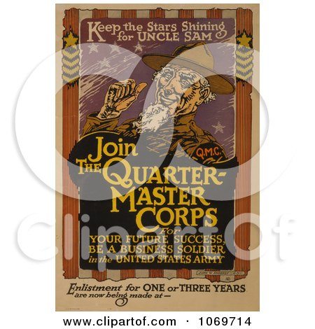Clipart Of Keep the Stars Shining for Uncle Sam - Royalty Free Historical Stock Illustration by JVPD