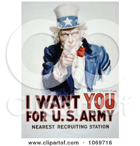 Clipart Of Uncle Sam - I Want You For US Army - Royalty Free Historical Stock Illustration by JVPD