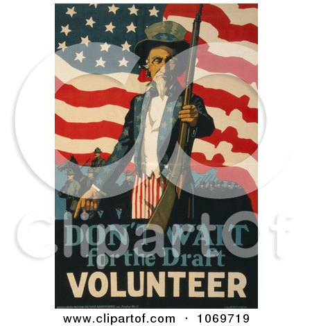 Clipart Of Uncle Sam Saying Don't Wait For The Draft, Volunteer Now! - Royalty Free Historical Stock Illustration by JVPD
