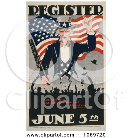 Clipart Of Uncle Sam, Register June 5th - A Great Day Of Patriotic Devotion And Obligation - Royalty Free Historical Stock Illustration by JVPD