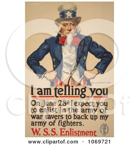Clipart Of Uncle Sam - I Am Telling You To Enlist - Royalty Free Historical Stock Illustration by JVPD
