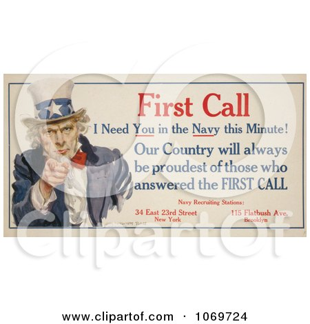 Clipart Of Uncle Sam - First Call I Need You in the Navy this Minute! - Royalty Free Historical Stock Illustration by JVPD