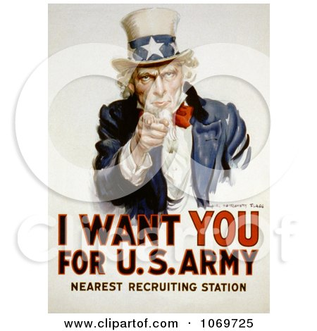 Clip Art Of Uncle Sam - I Want You For US Army - Royalty Free Historical Stock Illustration by JVPD