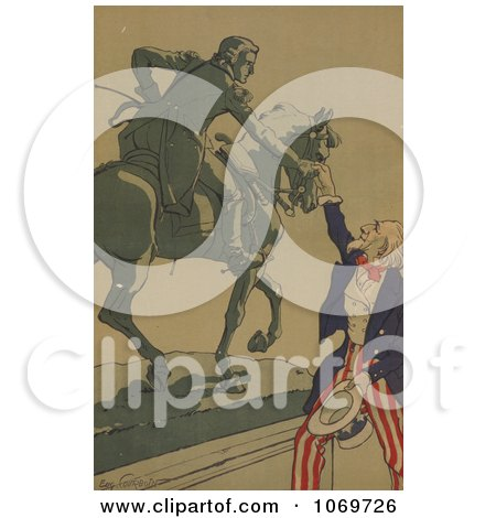 Clipart Of Uncle Sam Shaking Hands With the Marquis de Lafayette - Royalty Free Historical Stock Illustration by JVPD