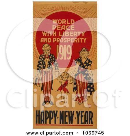 Clipart Of World Peace With Liberty and Prosperity 1919 - Happy New Year - Uncle Sam - Royalty Free Historical Stock Illustration by JVPD