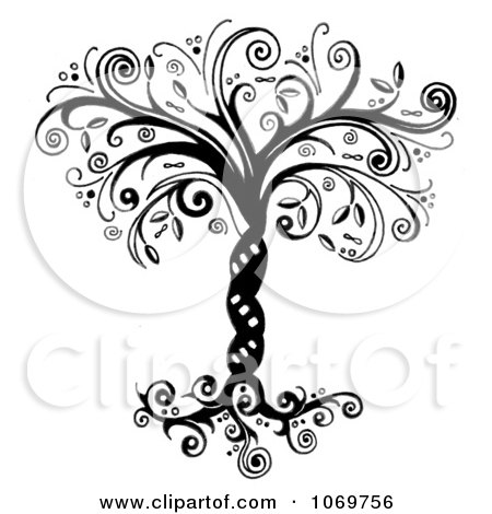 Clipart Ornate Whimsical Tree Of Life In Black And White - Royalty Free Illustration by LoopyLand