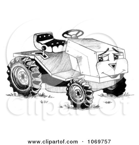 Clipart Happy Riding Mower Sketch - Royalty Free Illustration by LoopyLand