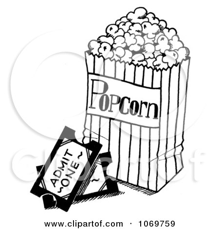 Clipart Movie Tickets And Popcorn Sketch - Royalty Free Illustration by LoopyLand