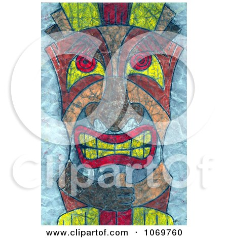 Clipart Textured Tiki Face On Blue - Royalty Free Illustration by LoopyLand