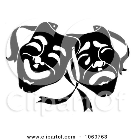 Clipart Dramatic Theater Masks - Royalty Free Illustration by LoopyLand