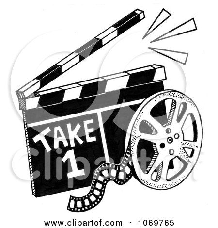 Clipart Take 1 Clapper Board And Film Reel Sketch - Royalty Free Illustration by LoopyLand