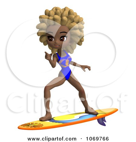 Clipart 3d Black Lifeguard Woman Surfing - Royalty Free CGI Illustration by Ralf61