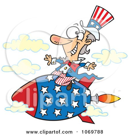 Clipart Uncle Sam Riding A Rocket - Royalty Free Vector Illustration by toonaday