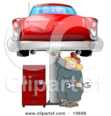 Female Mechanic Working On an Old Classic Car Clipart Illustration by djart