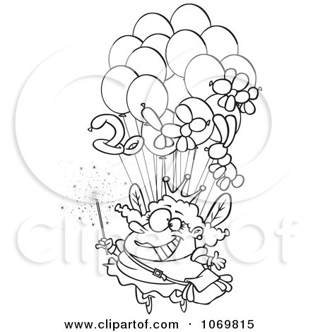 Clipart Outlined Fairy Floating With Balloons - Royalty Free Vector Illustration by toonaday