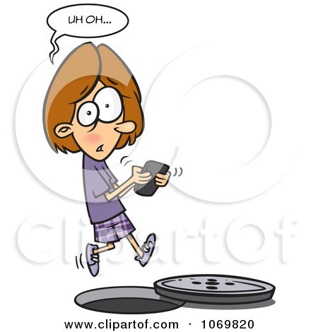 Clipart Distracted Girl Texting And Falling Into A Manhole - Royalty Free Vector Illustration by toonaday
