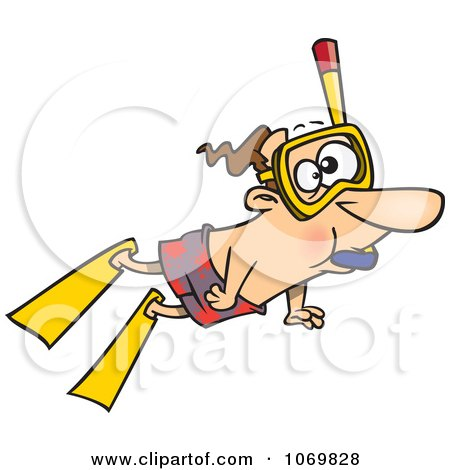 Clipart Snorkeling Man - Royalty Free Vector Illustration by toonaday