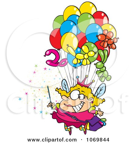 Clipart Fairy Floating With Balloons - Royalty Free Vector Illustration by toonaday
