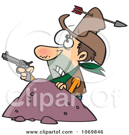 Clipart Arrow Through A Cowboys Hat - Royalty Free Vector Illustration by toonaday