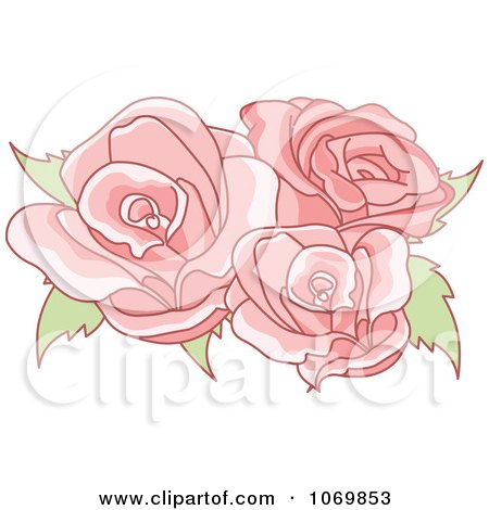 Clipart Three Pink Roses - Royalty Free Vector Illustration by Pushkin