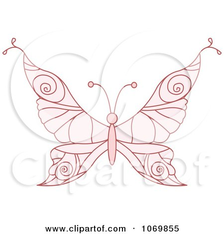 Clipart Pale Pink Butterfly - Royalty Free Vector Illustration by Pushkin