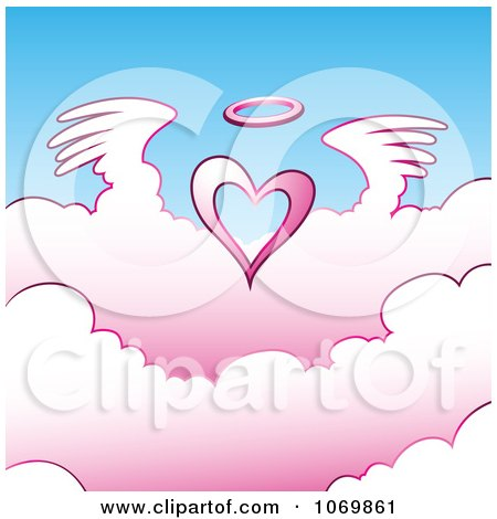 Clipart Angel Heart Above Pink Clouds - Royalty Free Vector Illustration by cidepix