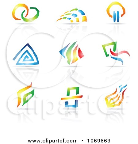Clipart Abstract Design And Reflection Logos 1 - Royalty Free Vector Illustration by cidepix