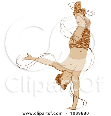 Clipart B Boy Dancer Doing A Move On One Hand - Royalty Free Vector Illustration by Paulo Resende