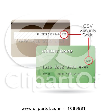 Clipart Front And Back Sides Of A Credit Card Showing The CSV Security Code Spot - Royalty Free Vector Illustration by Arena Creative