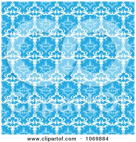 Clipart Seamless Blue Baroque Damask Pattern - Royalty Free Vector Illustration by Arena Creative