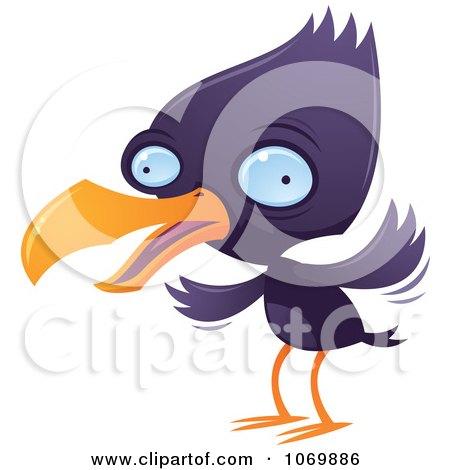 Clipart Purple Squawking Bird - Royalty Free Vector Illustration by John Schwegel